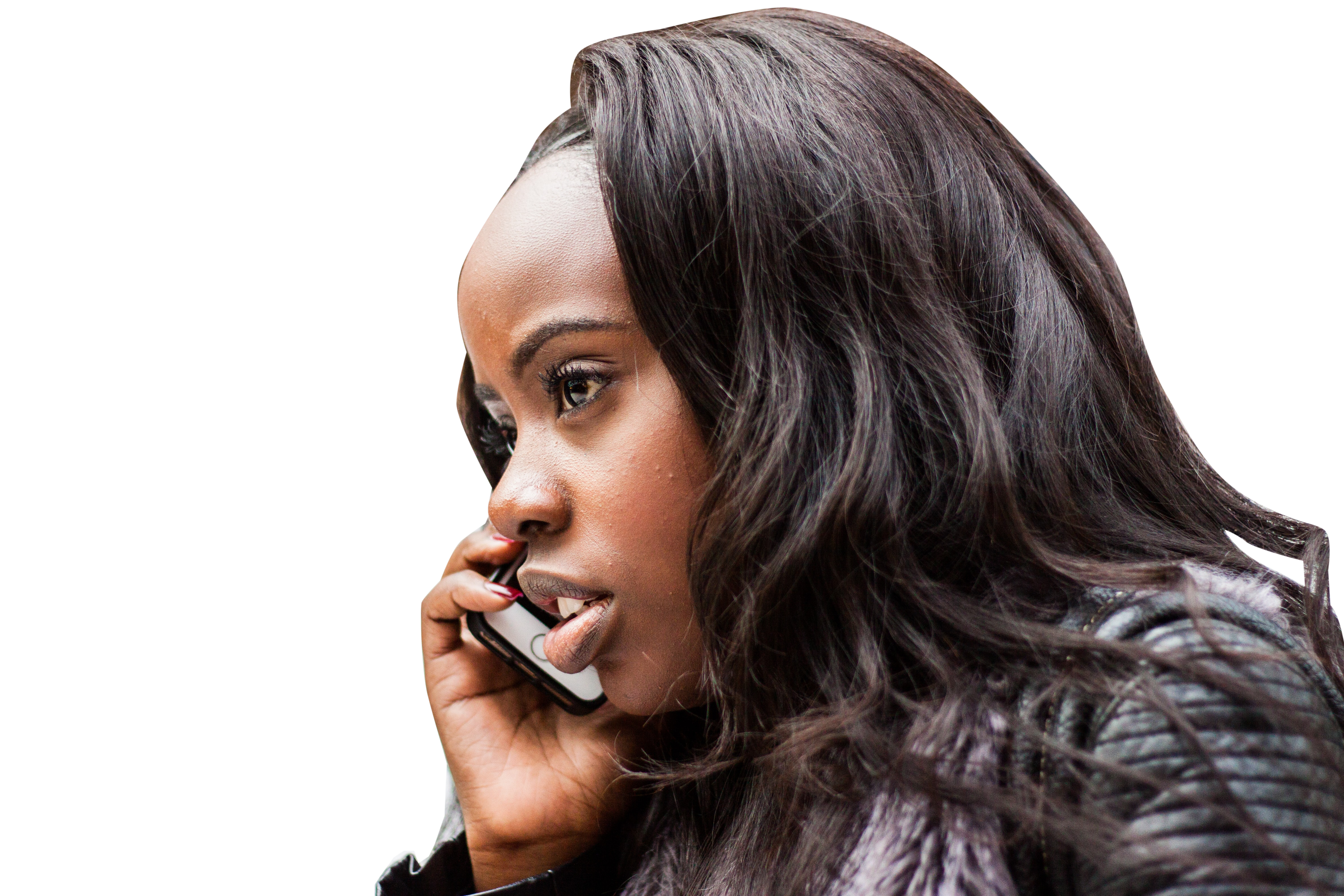 Girl listening call selfie  phone transparent Background PNG