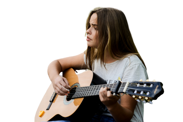 Girl with guitar transparent background PNG