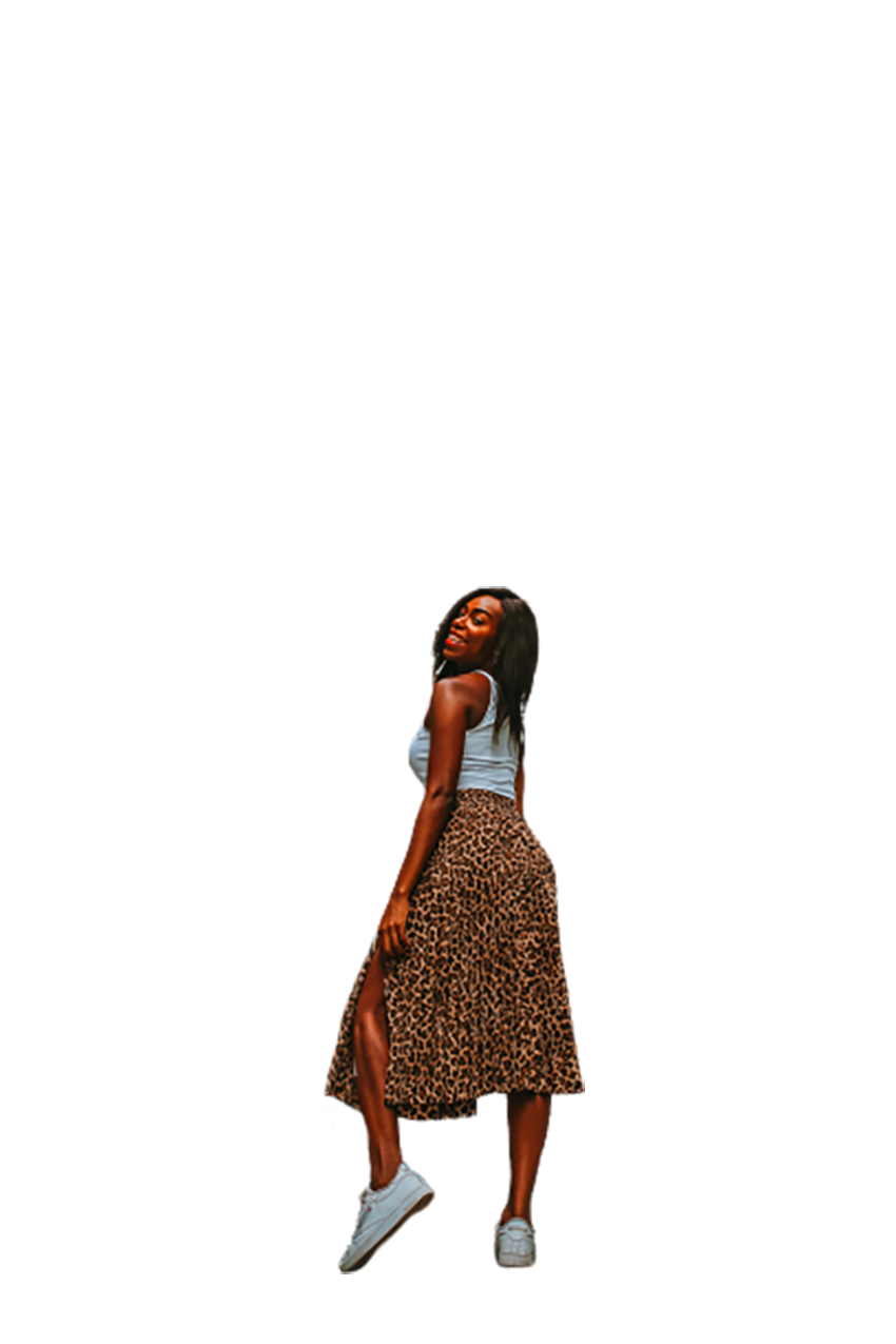 Amusing African woman transparent background PNG