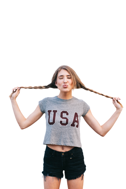 Girl wearing USA shirt with open hairs Transparent Background PNG