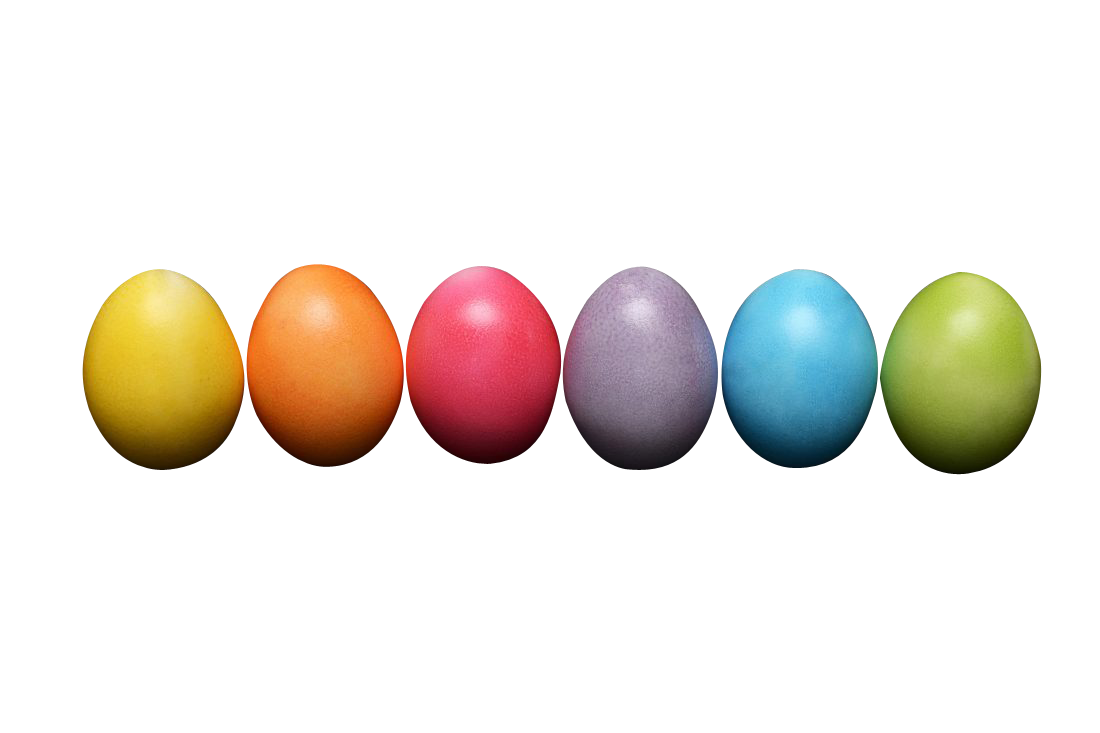 Bright Easter Eggs Transparent Background PNG