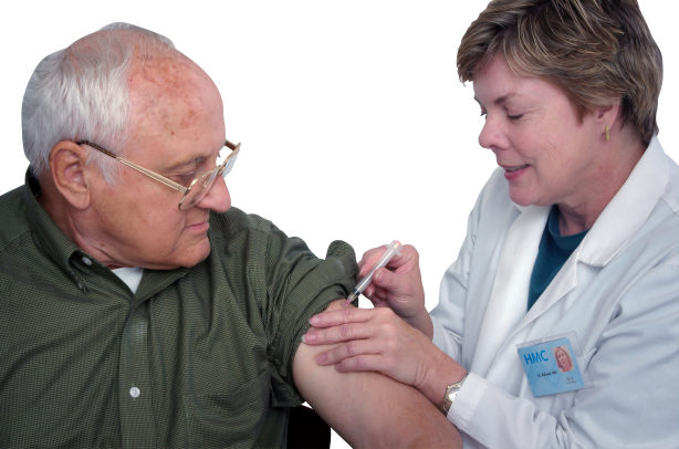 Doctor giving injection to a old person transparent background.png