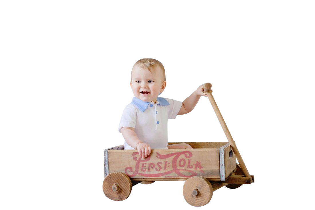 Child in Wooden Cart Transparent Background PNG