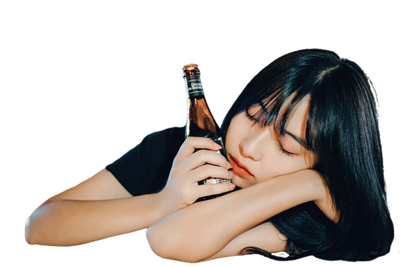 Girl with a beer bottle transparent background PNG