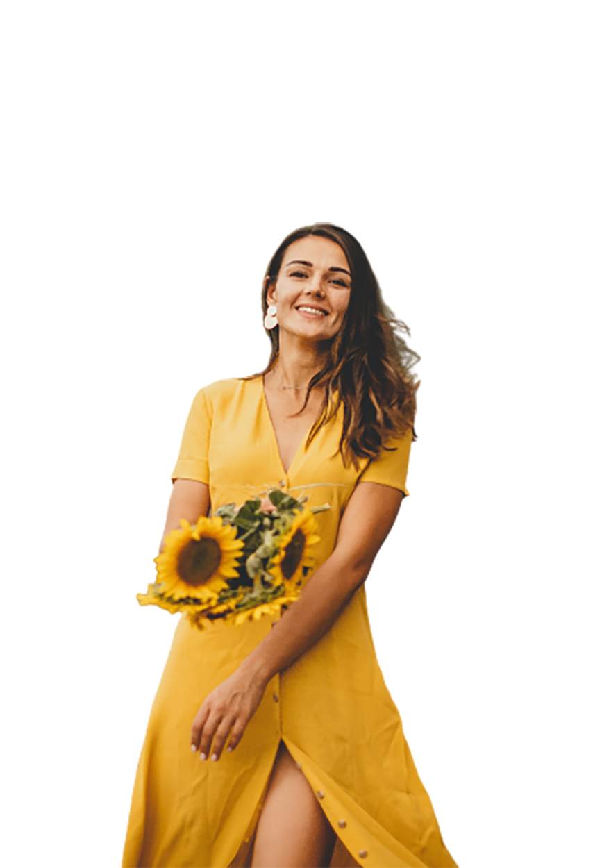 Woman with yellow dress and flower transparent background PNG
