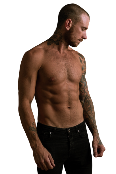 Man with tattoos in hand, bare body transparent background PNG