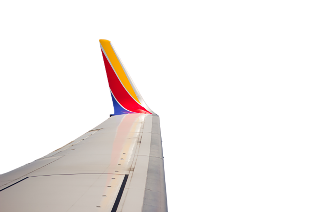 Wing of an airplane transparent background PNG