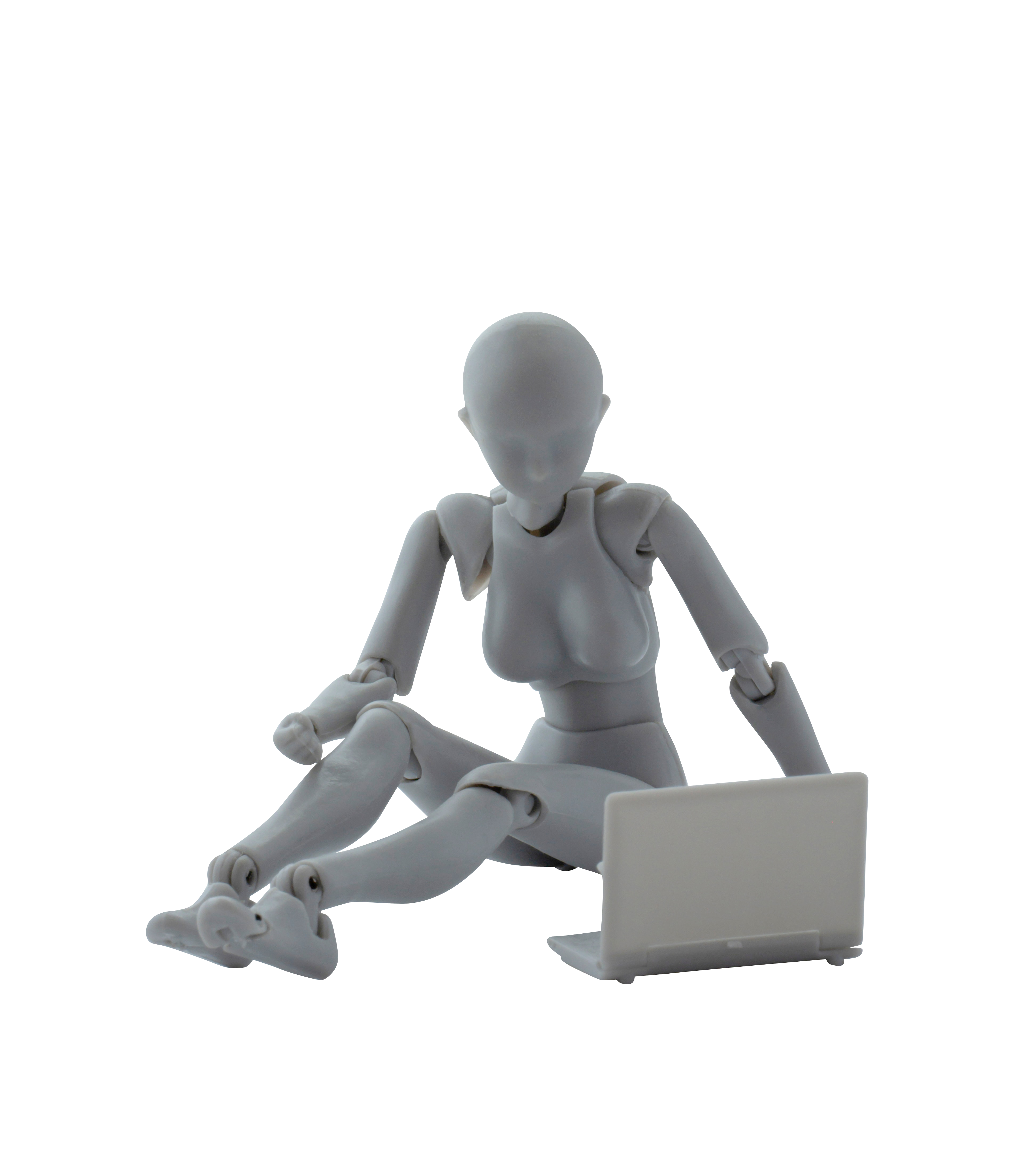 Female Mannequin Using Laptop Transparent Background PNG