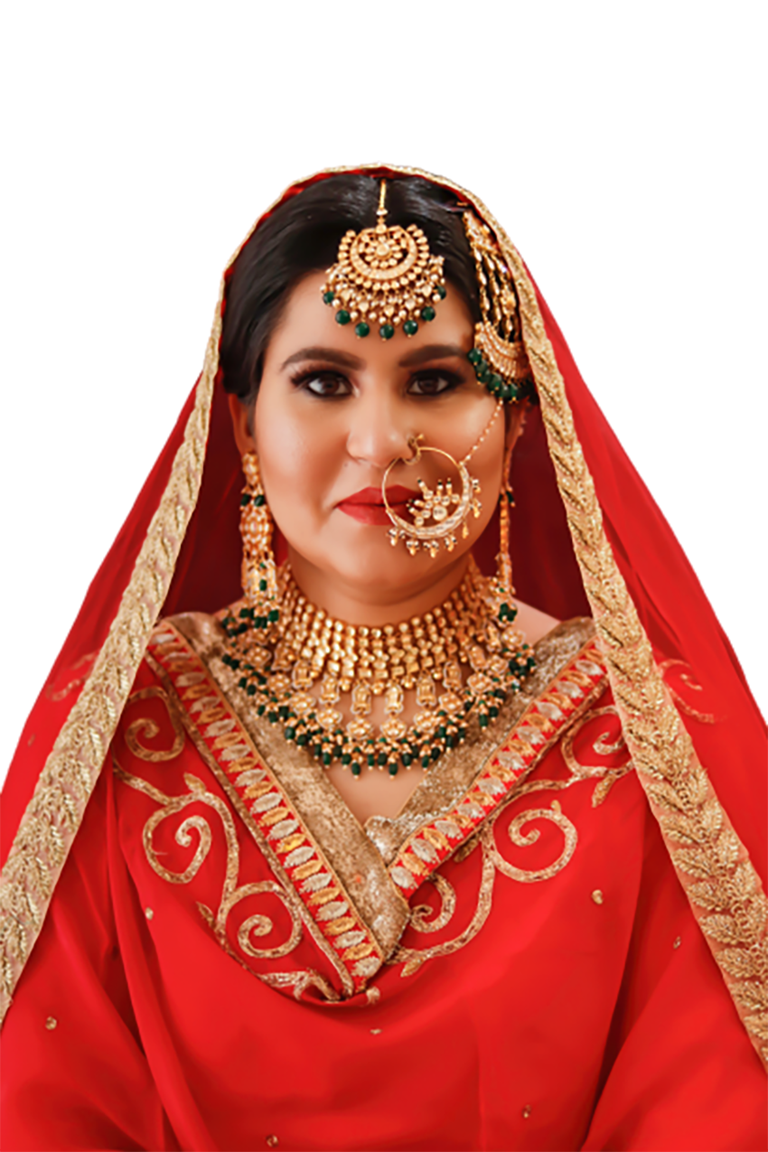 Bride in a red dress transparent background PNG