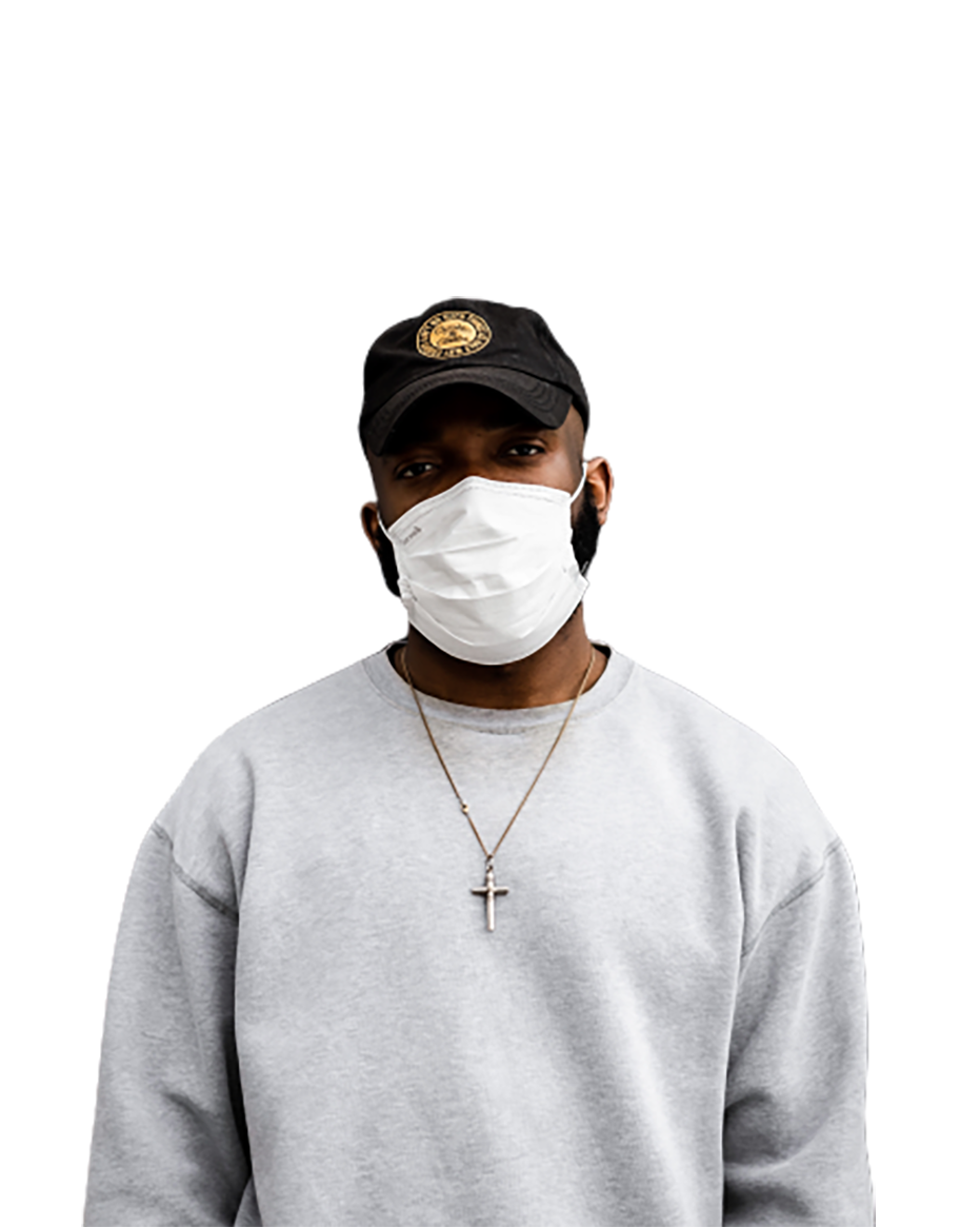 Man with a white mask transparent background PNG