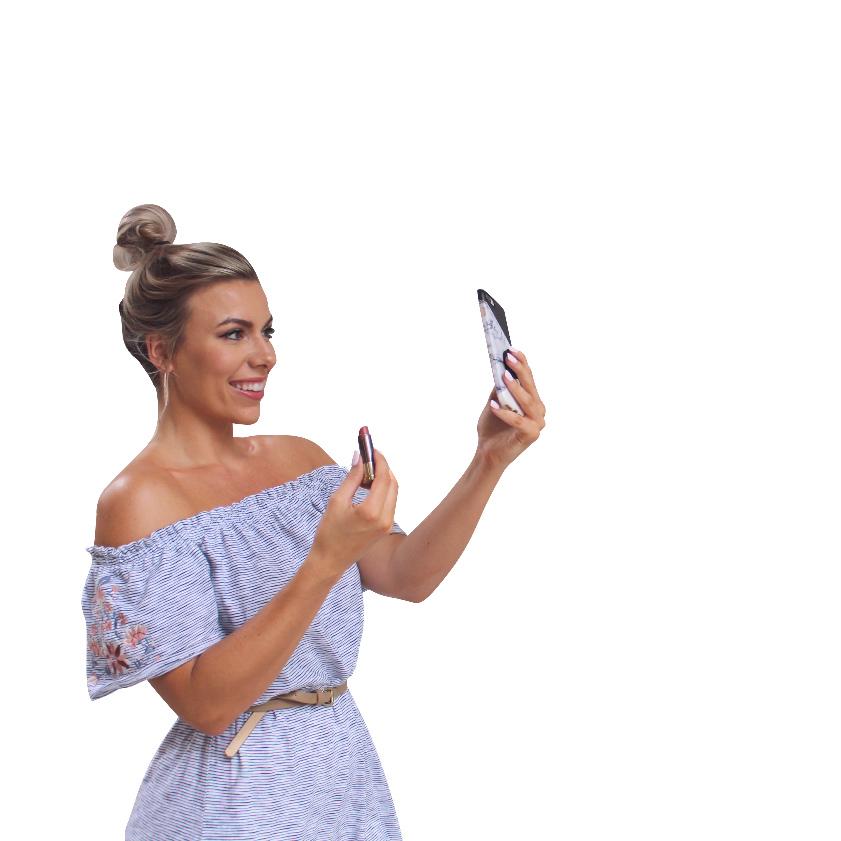 Woman doing make-up through phone Transparent Background PNG