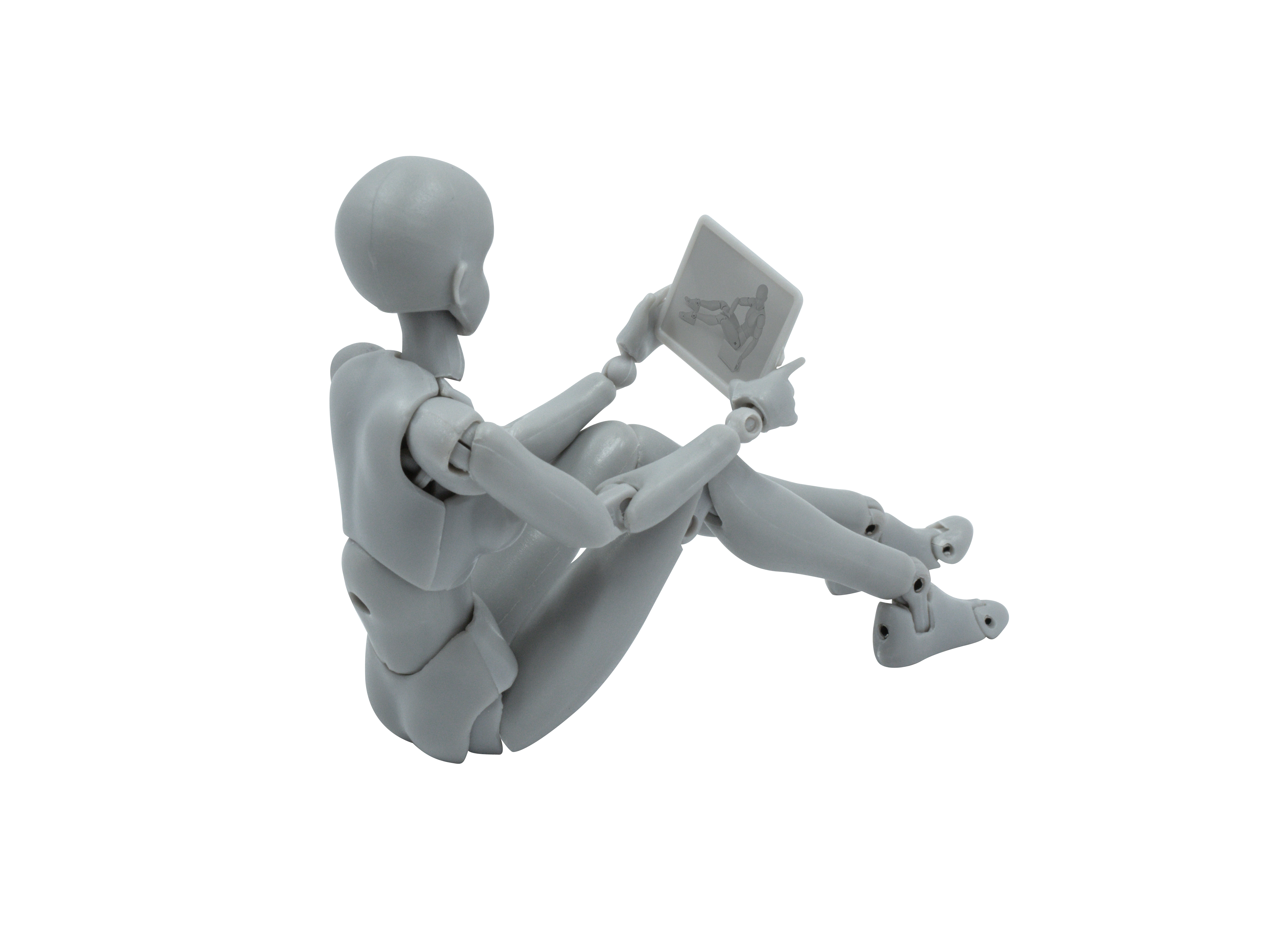 Mannequin Looking at Tablet Right Side Transparent Background PNG