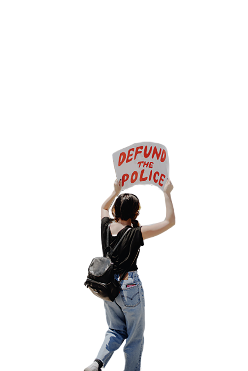 A young girl is doing a protest transparent background PNG