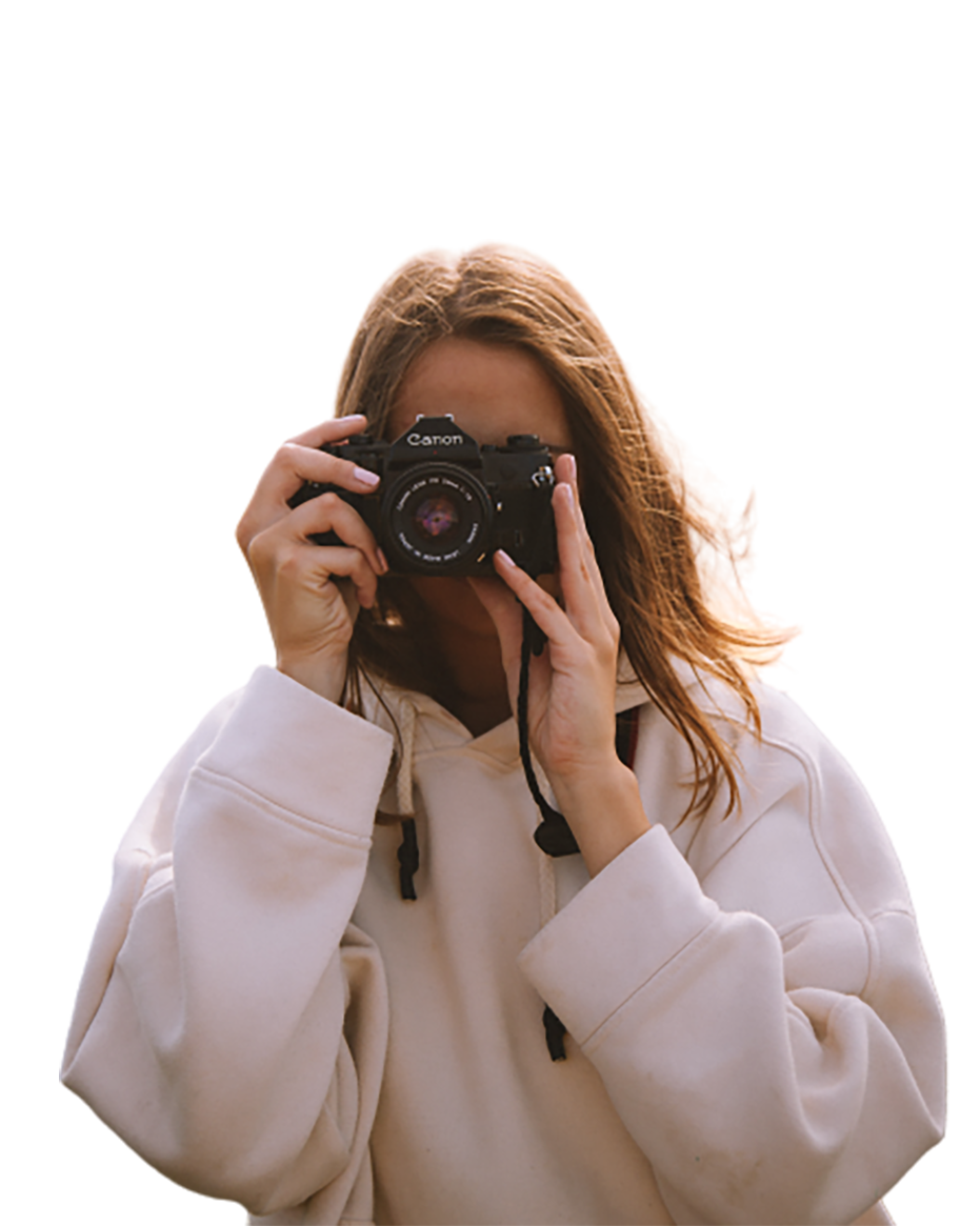 Girl with a Canon Camera transparent background PNG