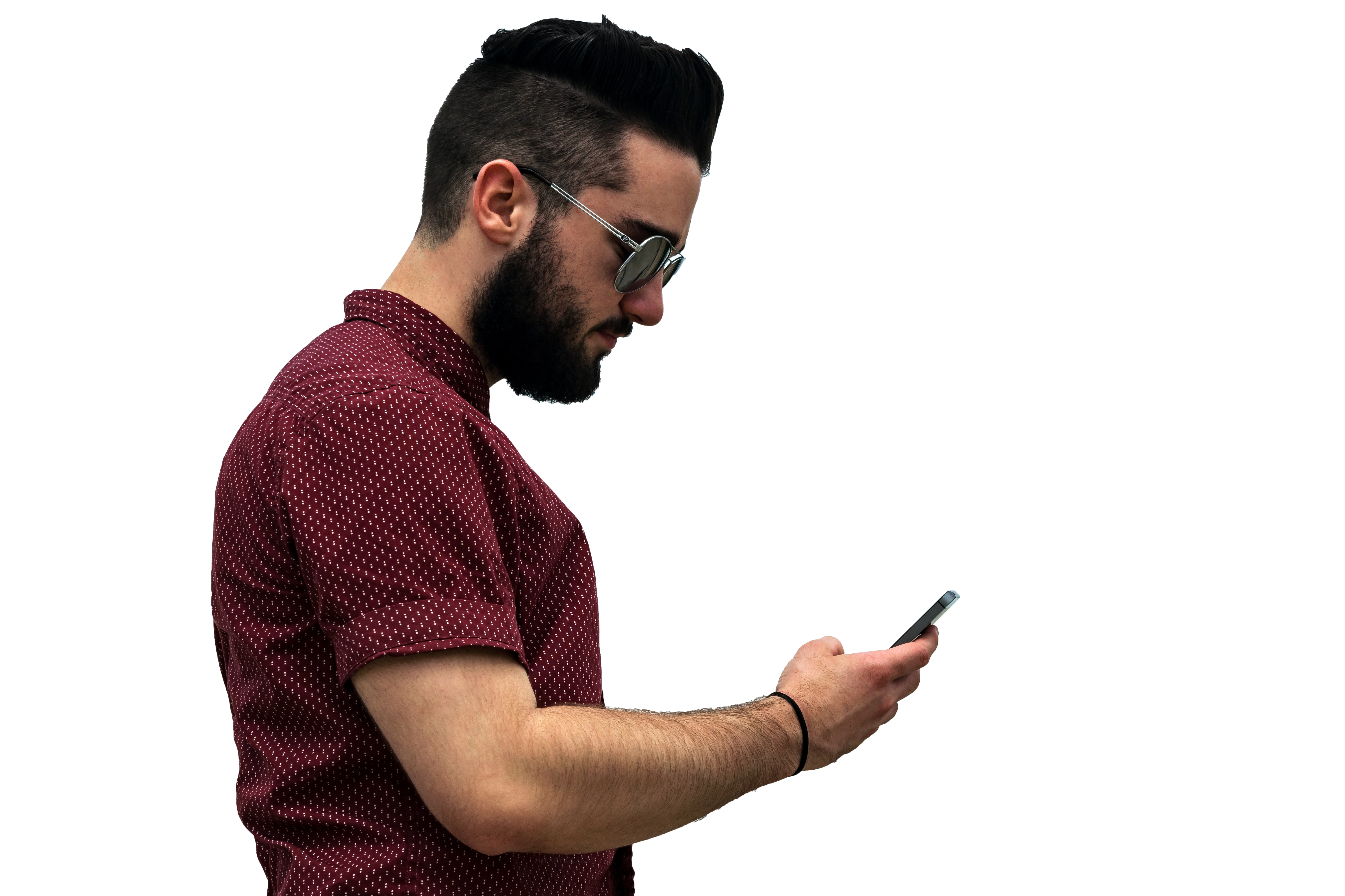 Man wearing Goggles with mobile in hand with transparent background PNG