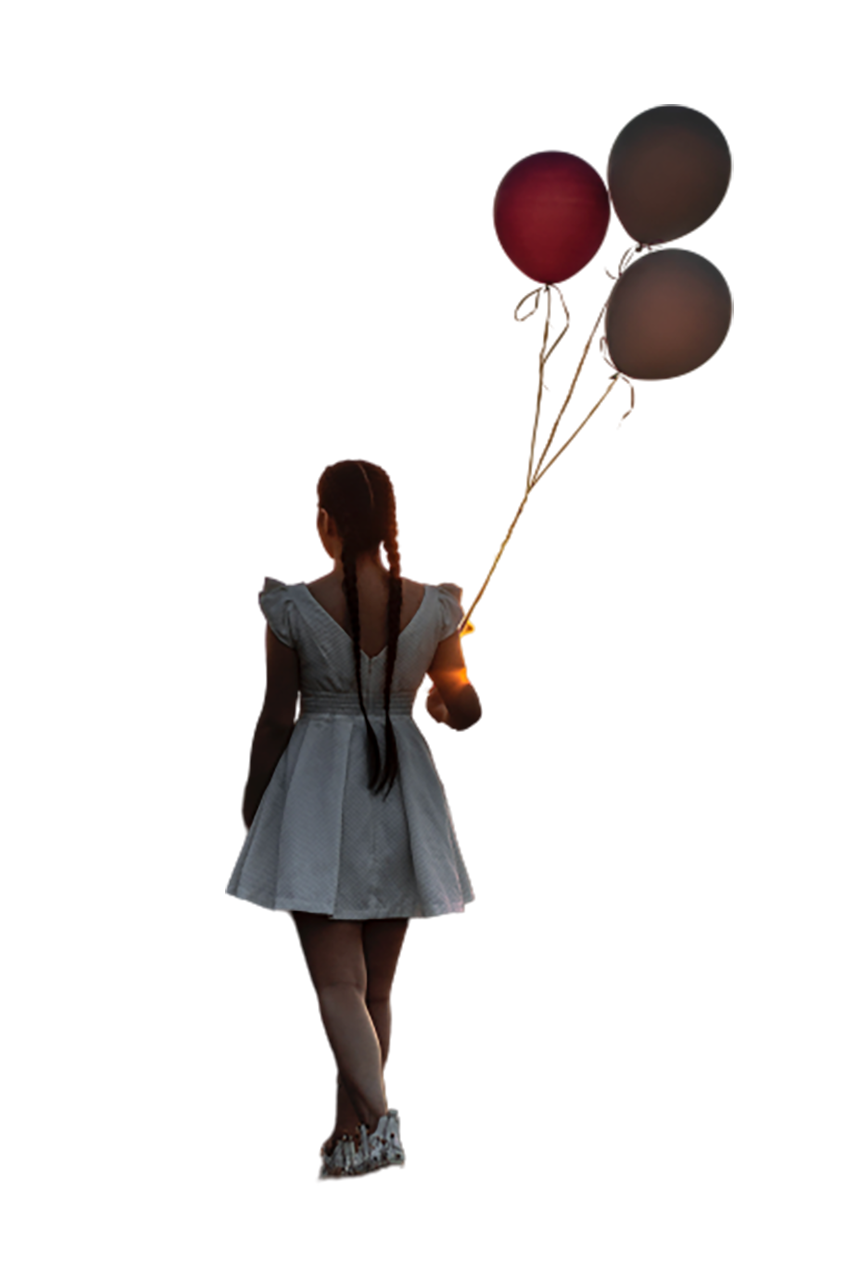 Girl with balloons in hand transparent background PNG