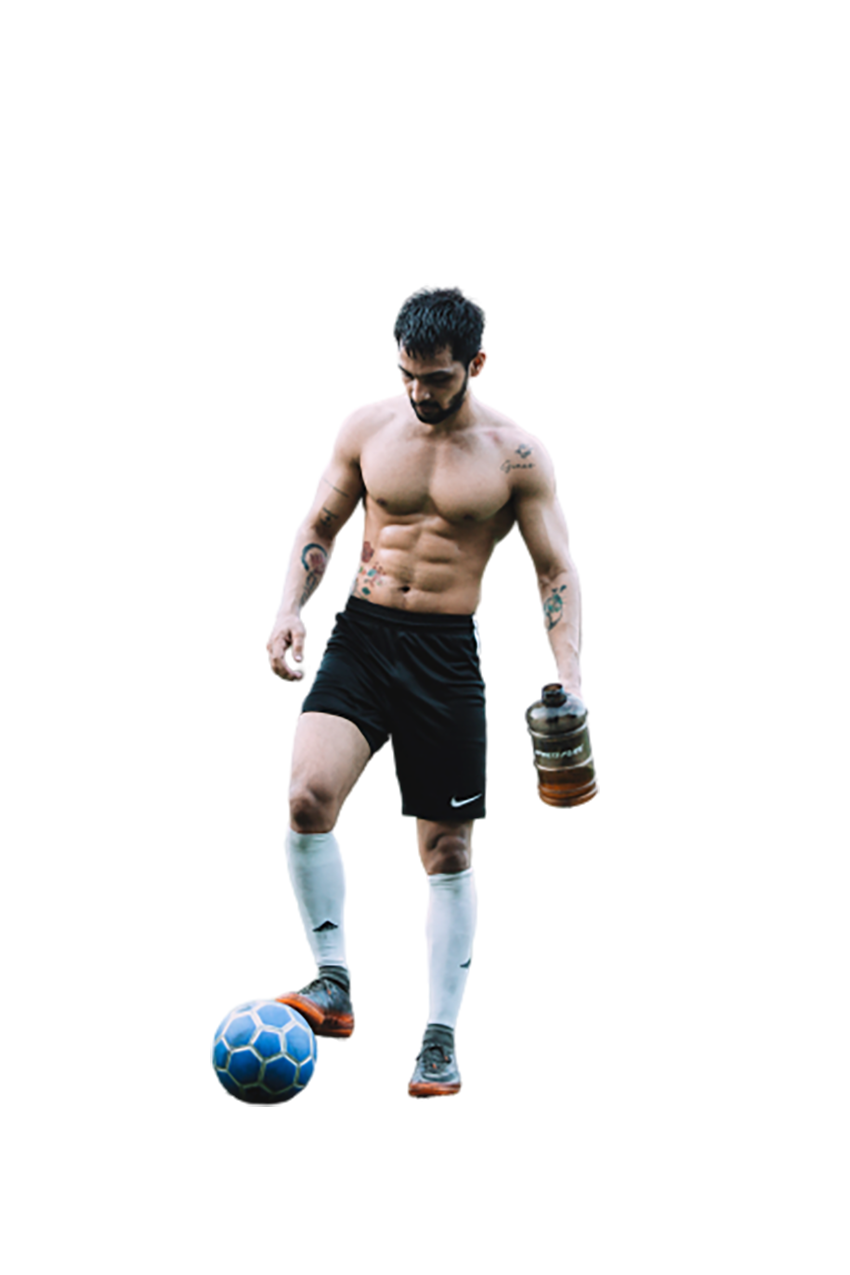 A footballer with a football transparent background PNG