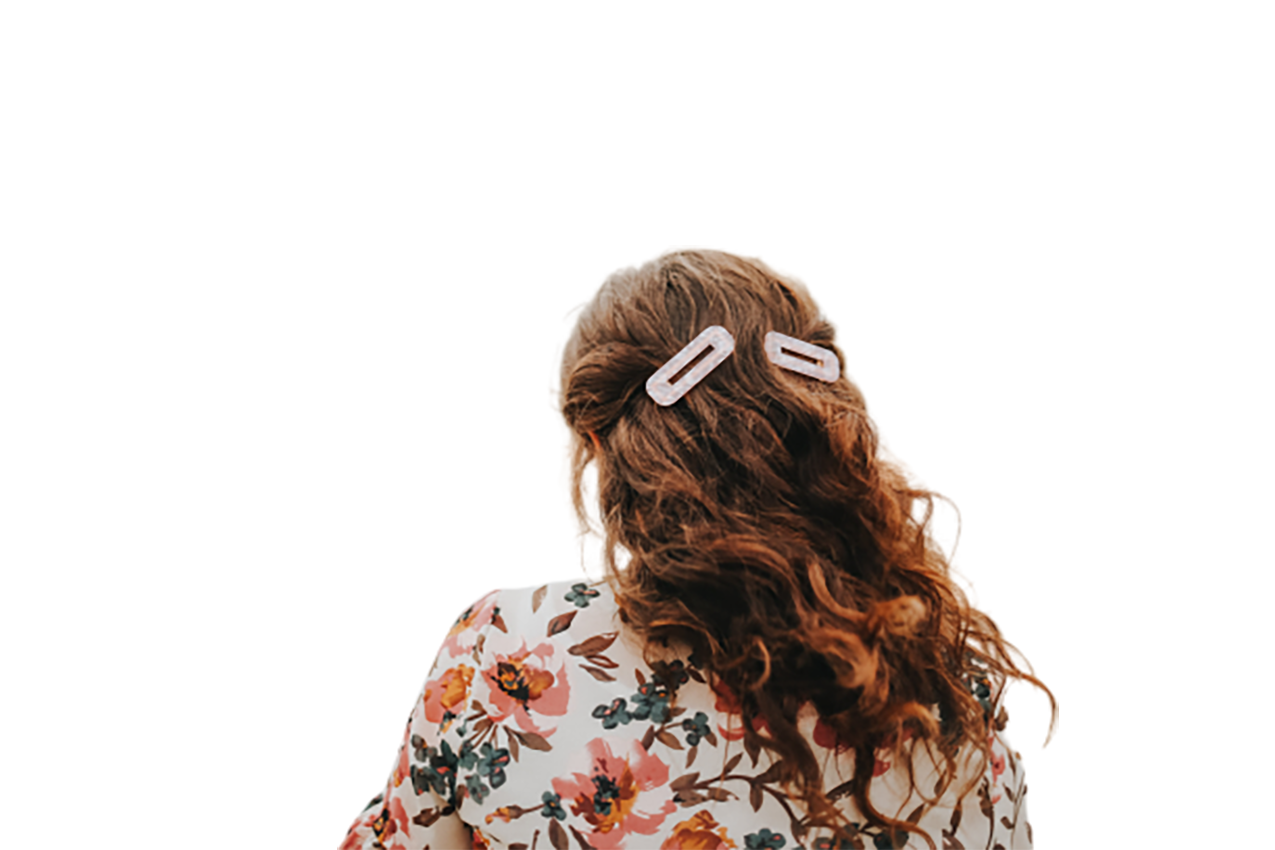 Girl having brown hair, back view transparent background PNG