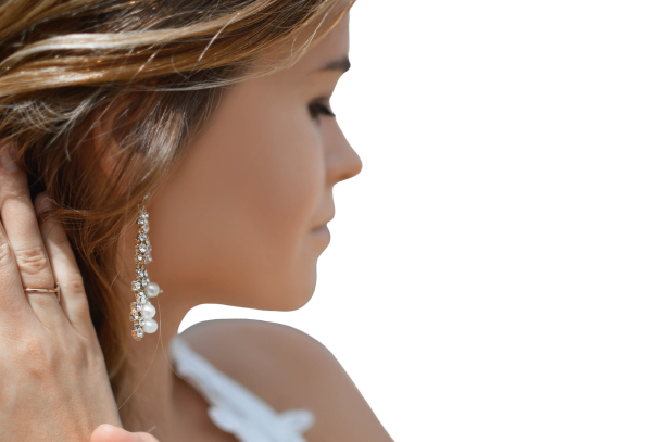 Face of Girl, side view transparent background PNG