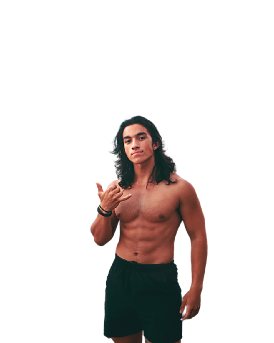 Long haired man, bare body transparent background PNG