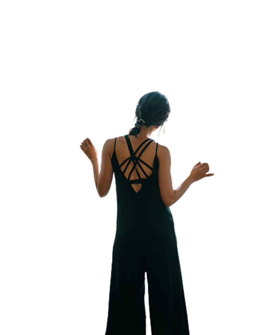 Girl in a black dress, back view transparent background PNG