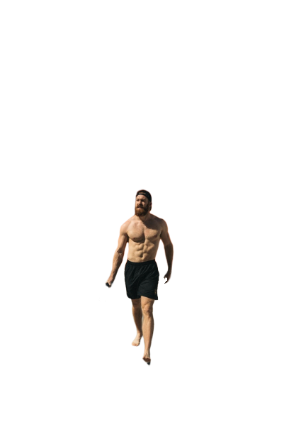 Man on beach without shirt transparent background PNG