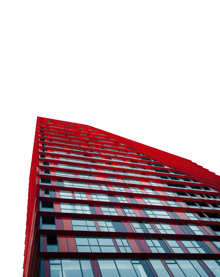 Red-colored tall multistorey building transparent background PNG