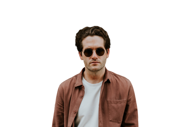 Men with brown coat and sunglasses Transparent Background PNG