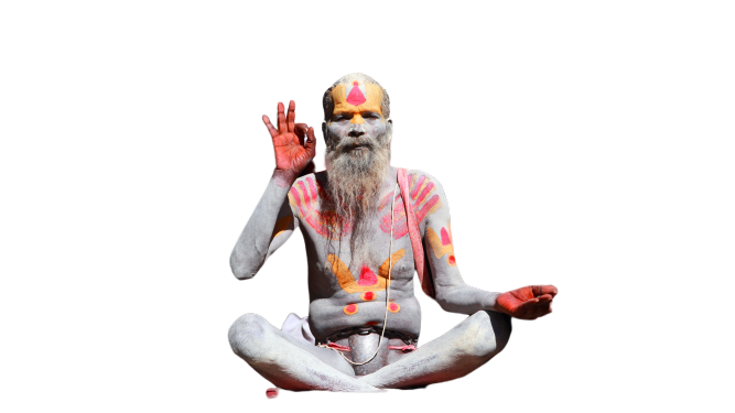Spiritual Religious old man sitting Transparent Background PNG