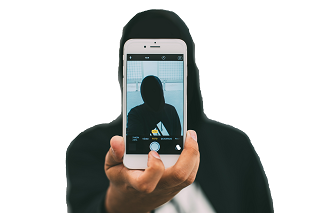 Man with Black hoody making his own selfie Transparent Background PNG