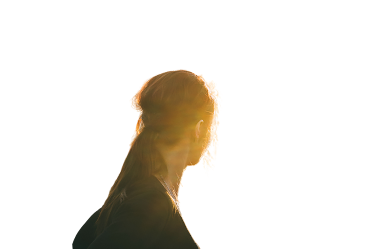 Girl facing to the sun transparent background PNG