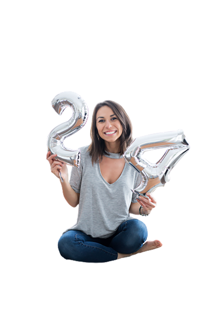 Woman showing 24 transparent background PNG