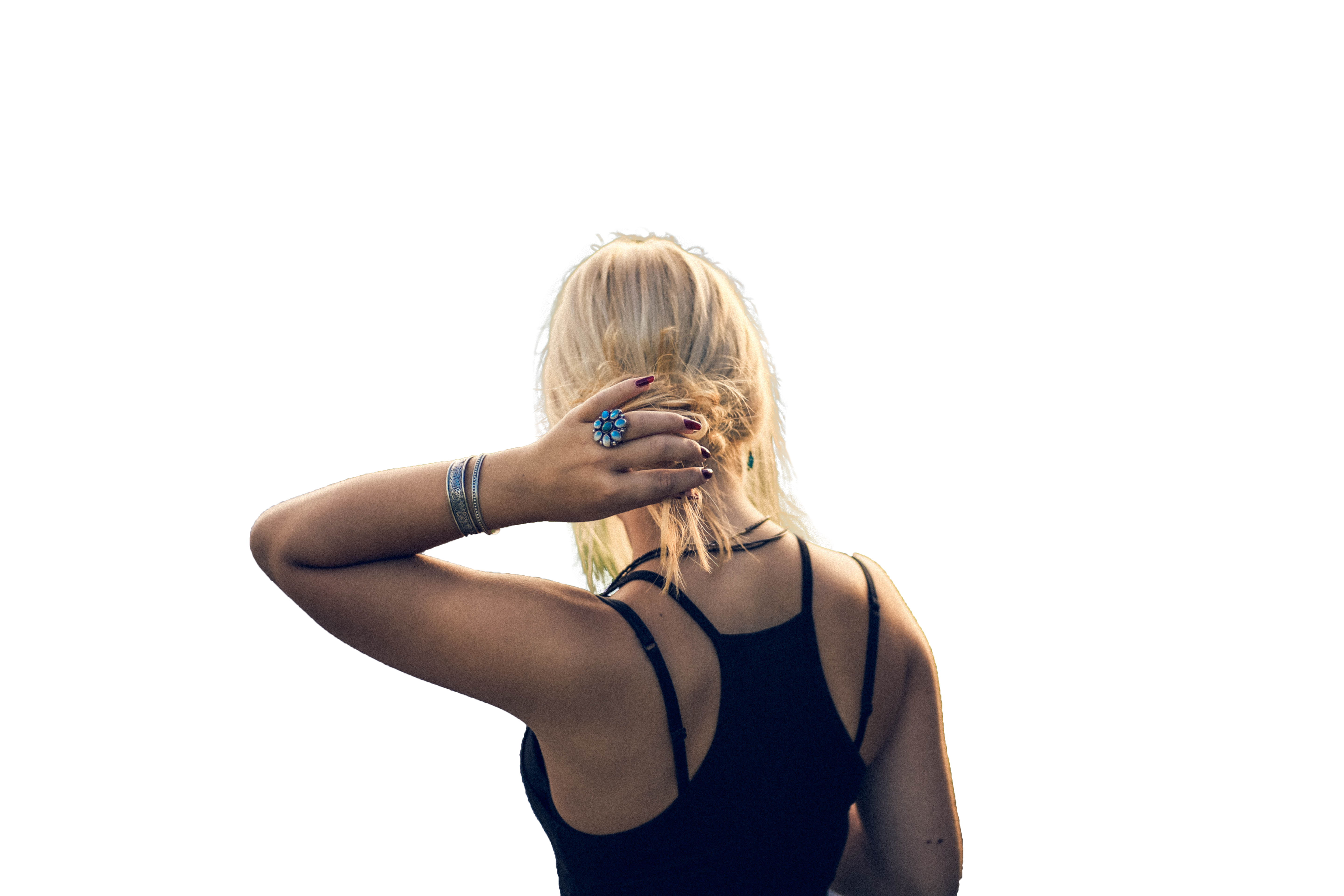Beautiful Girl with hand on hairs back view Transparent Background PNG