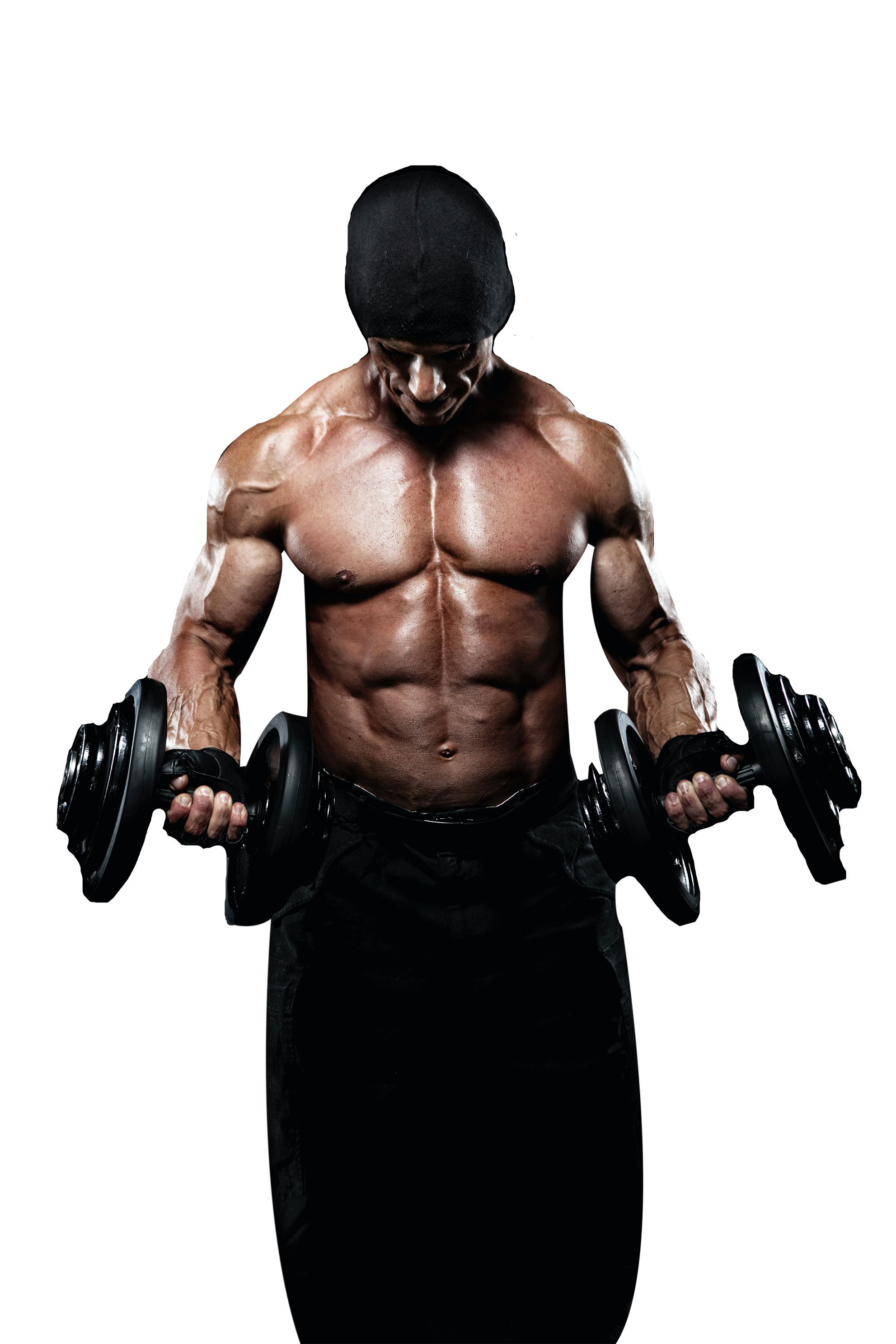 Man doing exercise with two dumbbells transparent background PNG