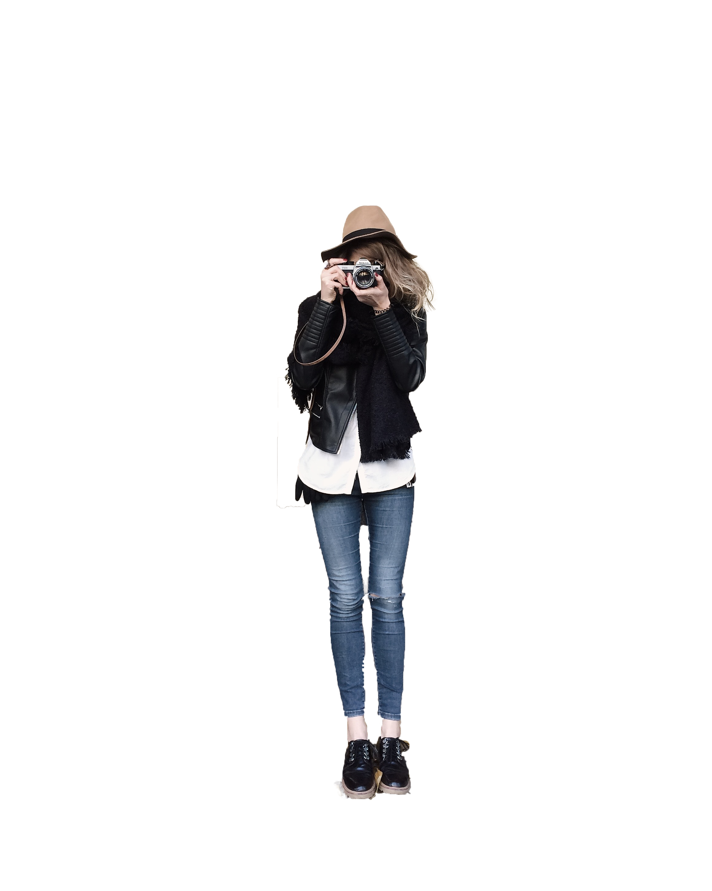 Girl with camera ready to click with transparent background PNG