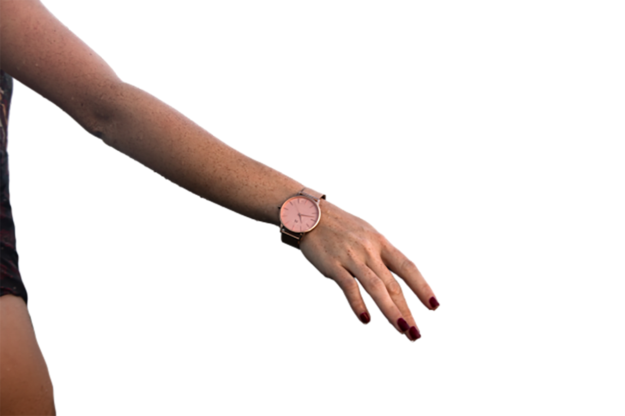Lady with a wristwatch in hand transparent background PNG