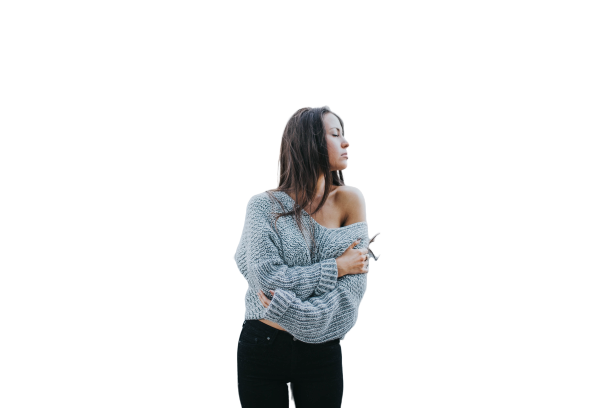 Woman wearing white sweater and black trouser transparent background PNG image