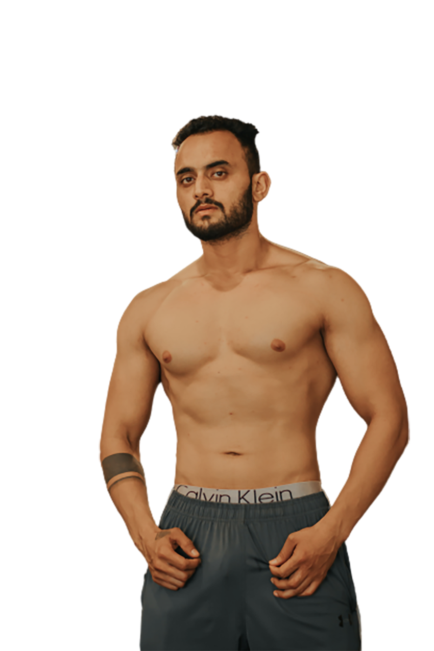 Man showing his bare body transparent background PNG
