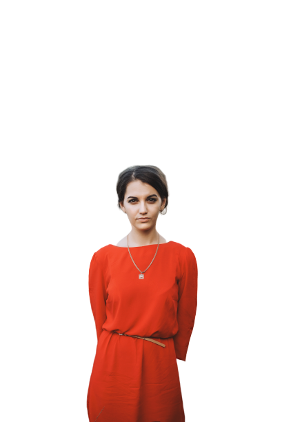 Orange Shirt girl with necklace transparent background PNG